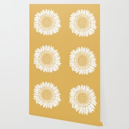 Yellow Sunflower Drawing Wallpaper