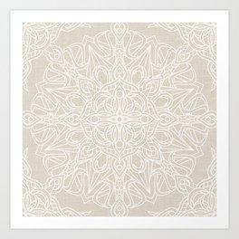 White Lace Mandala on Antique Ivory Linen Background Art Print