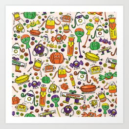 Monster Halloween Candy Bots in Orange, Green, & Purple  // Fall Holiday Themed Candy Robots Art Print