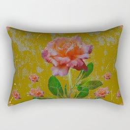 ANTIQUE AVOCADO COLOR  CORAL  PINK ROSES BOTANICAL ART Rectangular Pillow