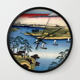 Hiroshige - 36 Views of Mount Fuji (1858) - 11: Wild Goose Hill and the Tone River Wall Clock