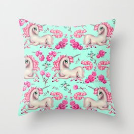 Unicorns and Roses on Mint Throw Pillow