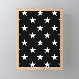 Stars (White/Black) Framed Mini Art Print