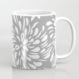DAHLIA FLOWER TEAR DROPS AND RAIN DROPS SWIRLS GRAY AND WHITE Coffee Mug