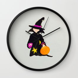 Witch Sorcerer October Halloween Trick or Treat Toddler Wall Clock