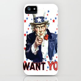 Uncle Sam I Want You With Star Pattern Background iPhone Case