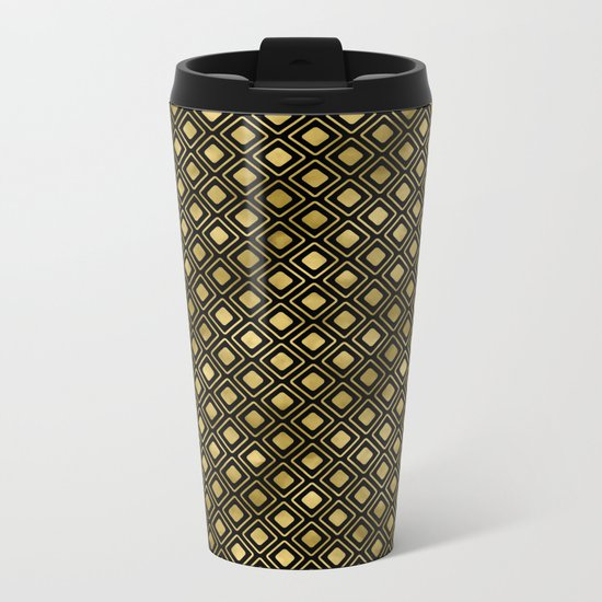 Black and gold geometric abstract pattern I- Luxury design for your home Metal Travel Mug