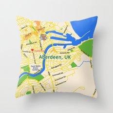 Map of Aberdeen, UK Throw Pillow