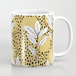 Summer leaves fall is coming garden and raindrops ochre yellow Coffee Mug