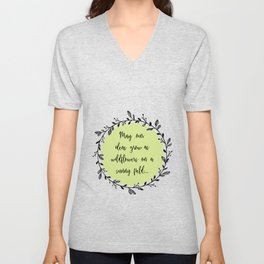 Spring Wildflowers Quote in Floral Wreath Unisex V-Neck