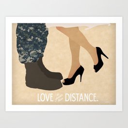 Love is Greater than Distance - Navy Art Print