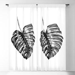 Monstera leaf black watercolor illustration Blackout Curtain