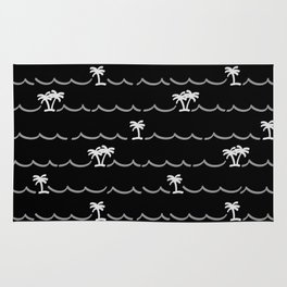 Tropica Night - black and white tropical pattern Rug