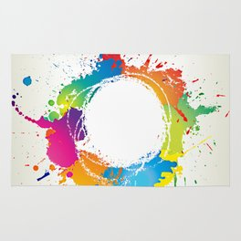 Abstract grunge background with paint splats Rug