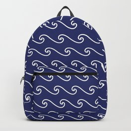 Wave Pattern | Navy Blue and White Backpack