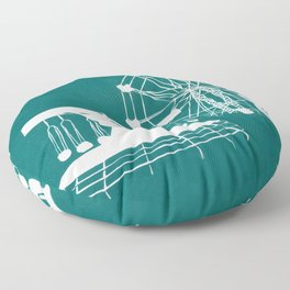 Seaside Fair in Turquoise Floor Pillow