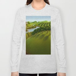 Classical Masterpiece 'The Plains' by Grant Wood Long Sleeve T-shirt