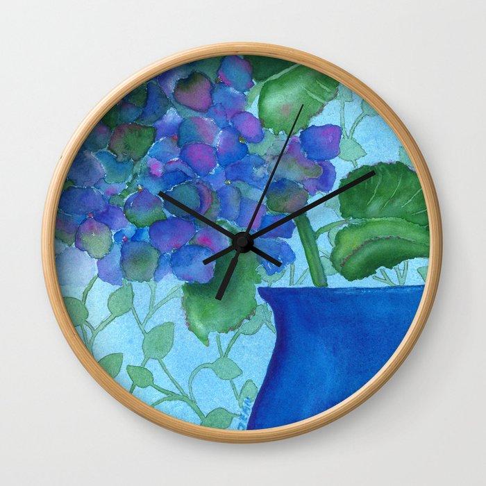 Cobalt Hydrangea Wall Clock