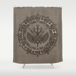 Gungnir - Spear of Odin - Beige Leather and gold Shower Curtain