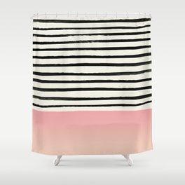 Blush x Stripes Shower Curtain