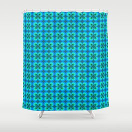 BLUE AND GREEN RETRO CIRCLES Shower Curtain