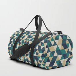 Foggy Petrol and Blue - Hipster Geometric Triangle Pattern Duffle Bag
