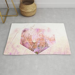 """""""May all your rolls be crits"""" floral 20 pattern Rug"""