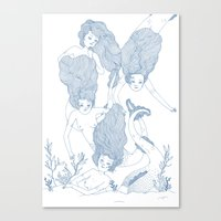 mermaids Canvas Prints featuring Mermaids by Veils and Mirrors
