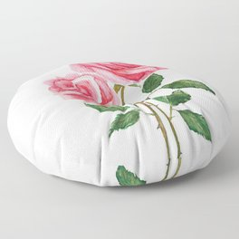 two pink roses watercolor Floor Pillow