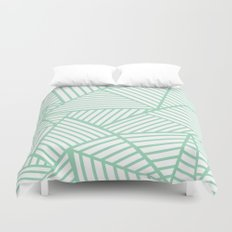 Abstract Lines Close Up Mint Duvet Cover