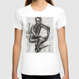 Instinctive - Charcoal on Newspaper Figure Drawing T-shirt