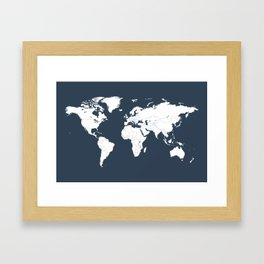 Minimalist World Map in Navy Blue Framed Art Print