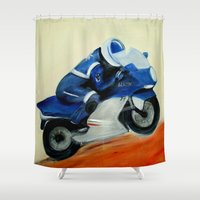 motorbike Shower Curtains featuring Art, painting, illustration, motorbike by WhitePanther