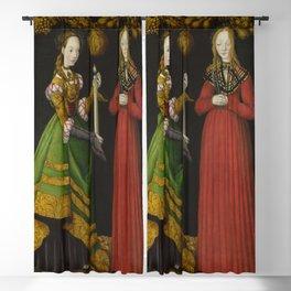 Lucas Cranach the Elder - Saints Genevieve and Apollonia Blackout Curtain