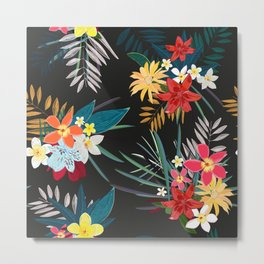 Frangipani, lily palm leaves tropical vibrant colored trendy summer pattern black background Metal Print