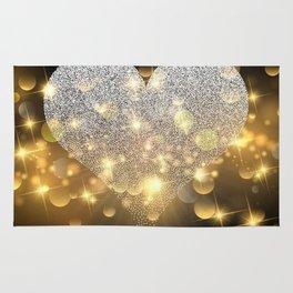 Valentine's Day, Glitter Heart, Gold Sparkle Rug