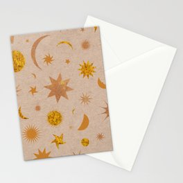 Celestial Sky in Golden Cork Stationery Cards