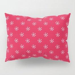 White on Crimson Red Snowflakes Pillow Sham
