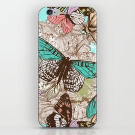 Beautiful print with hand drawn butterflies in vintage style iPhone Skin