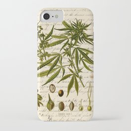 Marijuana Cannabis Botanical on Antique Journal Page iPhone Case