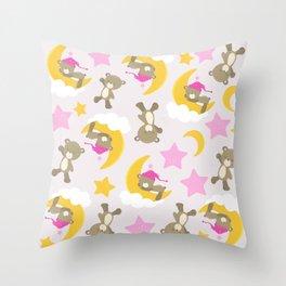 Pattern Of Cute Bears, Brown Bears, Pink Stars Throw Pillow