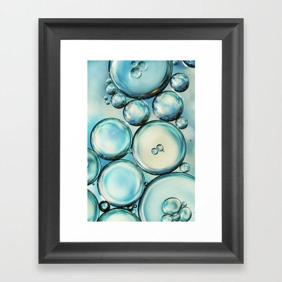 Sky Blue Bubble Abstract Framed Art Print
