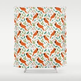 Chirpy Cardinals Shower Curtain