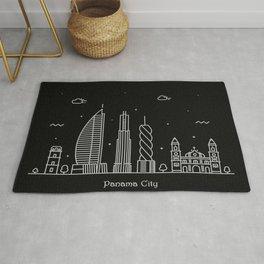 Panama City Minimal Nightscape / Skyline Drawing Rug