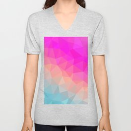 Dark Pink, Peach and Cyan Geometric Abstract Triangle Pattern Design  Unisex V-Neck
