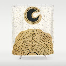 Sun and Moon Relationship // Cosmic Rays of Black with Gold Speckle Stars Cool Minimal Digital Drawn Shower Curtain