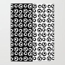 Mod Love Black/White Dots Circles Poster