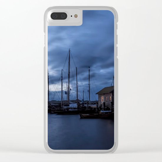 Blue memories- Blue hour at an harbour at the Sea #Society6 Clear iPhone Case