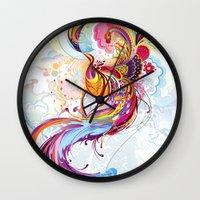 phoenix Wall Clocks featuring Phoenix by Nick La