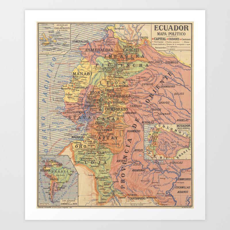 Vintage Map of Ecuador (1913) Art Print